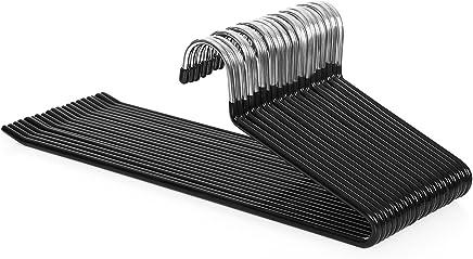 SONGMICS CRI004-20 - Perchas organizadoras para Pantalones (20 Unidades, 5 mm de diámetro, cromadas, Antideslizantes, 38 x 13 cm), Color Negro