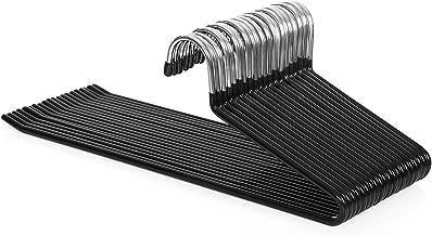 SONGMICS Perchas organizadoras para Pantalones, Metal Cromado, 20 Unidades, 5 mm de diámetro, cromadas, Antideslizantes, 38 x 13 cm, Negro CRI004-20