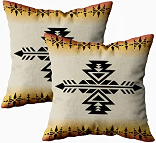 TOMKEY Couch Pillow Case, 2 Packs Hidden Zippered 18X18 Geometric Pattern Native Southwest American Print Ethnic Fabric Textile Decorative Throw Pillow Case Cushion Cover for Home Decor,Native White