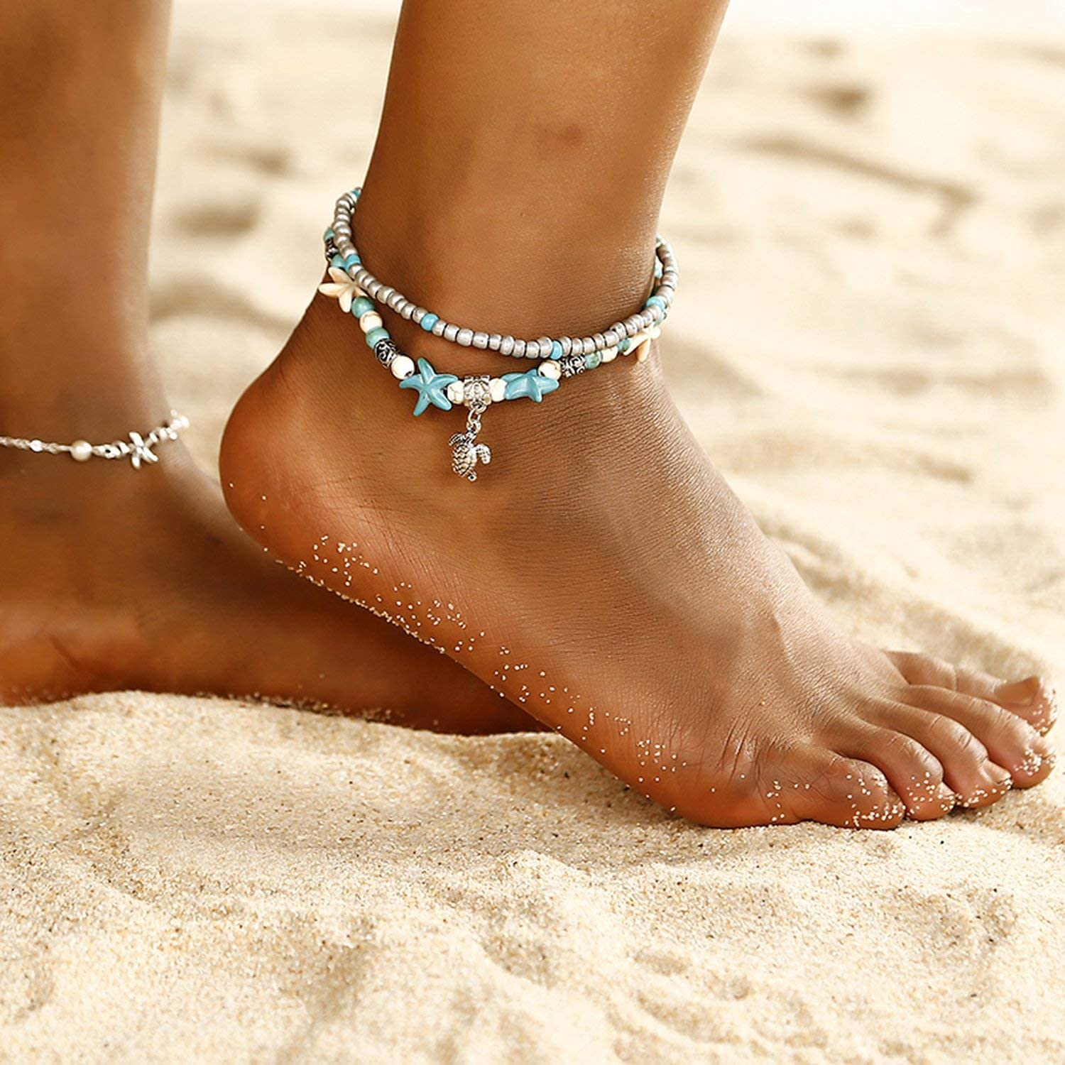Anklet for Men and Women Sea Star Beach Design Foot Jewelry for Friend