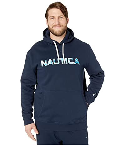 Nautica Big & Tall Big Tall Long Sleeve Fleece Hoodie (Blue) Men