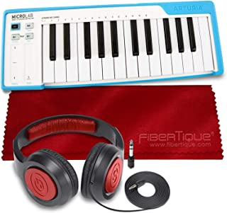 Arturia MicroLab Compact 25-Key USB-MIDI Controller (Blue) + SR360 Over-Ear Dynamic Stereo Headphones & Fibertique Microfi...