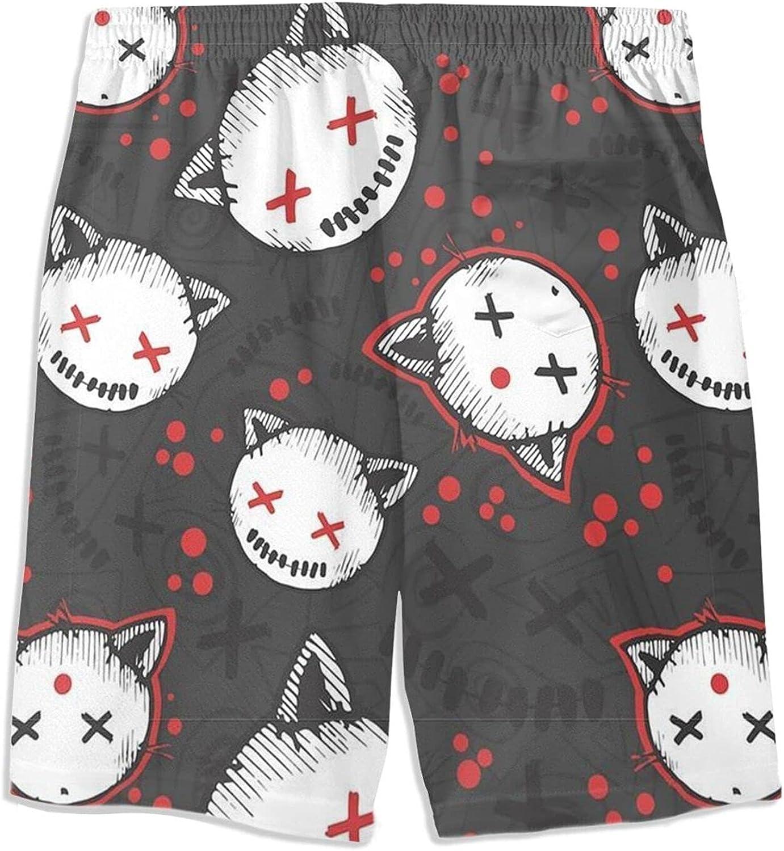 Halloween Cat Kids Beach Shorts Youth Boys Board Shorts Trunk Swim Swimming Pants for 7-20 Years White