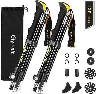 Glymnis Collapsible Hiking Poles Trekking Poles Lightweight Walking Poles Sticks with Tungsten Tips Quick Flip Lock 7075 Aluminum 2 Pack