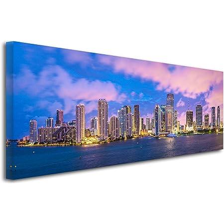 Declina Tableau Grand Format Panoramique Miami Impression Photo Ville Sur Toile Decoration Murale Paysage Deco Maison Cuisine Salon Chambre Adulte Multicouleur 80x30 Cm Amazon Fr Cuisine Maison