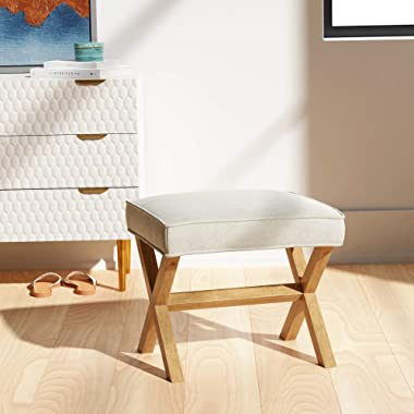 "Amazon Brand – Rivet Mid-Century Modern X Stool Ottoman Chair, 20"" W, Ivory"