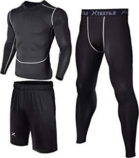Xtextile 3 Pcs Men's Workout Clothes Set with Compression Pants,  Long Sleeve Shirts and Loose Fitting Shorts