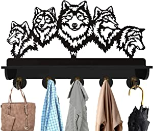 Wall Mount Coat Rack KingLive, Animal Wall Shelf with Hooks, Wolf Hat Hanger Towel Clothes Rack with 5 Hooks Display for Hallway Kitchen Office Entryway