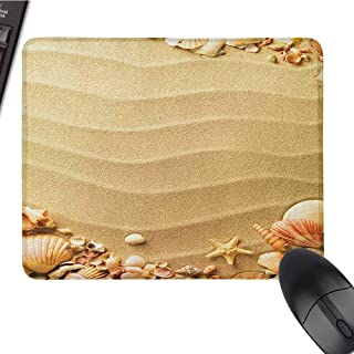 pad for Mouse Beach,Nautical Composition with Sandy Beach Frame Surrounded by Various Sea Shells, Sand Brown Coral E-Sports Gaming Mouse Pad 15.7 x23.6 INCH