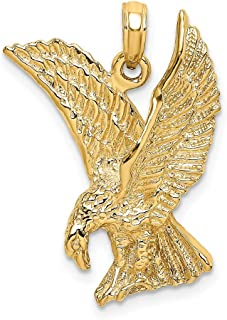 14k Yellow Gold 2-D Eagle Landing with Wings Up Charm Pendant