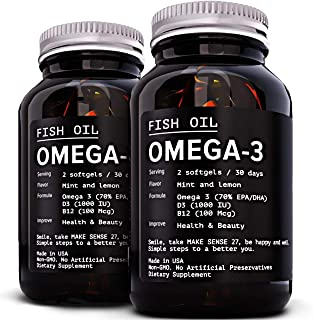 [2 Pack] Omega 3 Fish Oil Supplement 2400MG - High EPA 880MG + DHA 660MG - Triple Strength Burpless Capsules Softgels - Heart Health, Immune Support - Made in USA