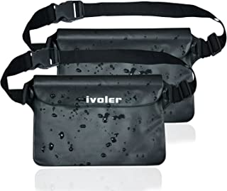 ivoler [2 Unidades] Riñonera Impermeable Universal con Correa de Cintura, Bolsa Estanca para Playa, Floating, Rafting, Kayak, Senderismo, Pesca, Escalada, Camping, etc. (Negro+Negro)