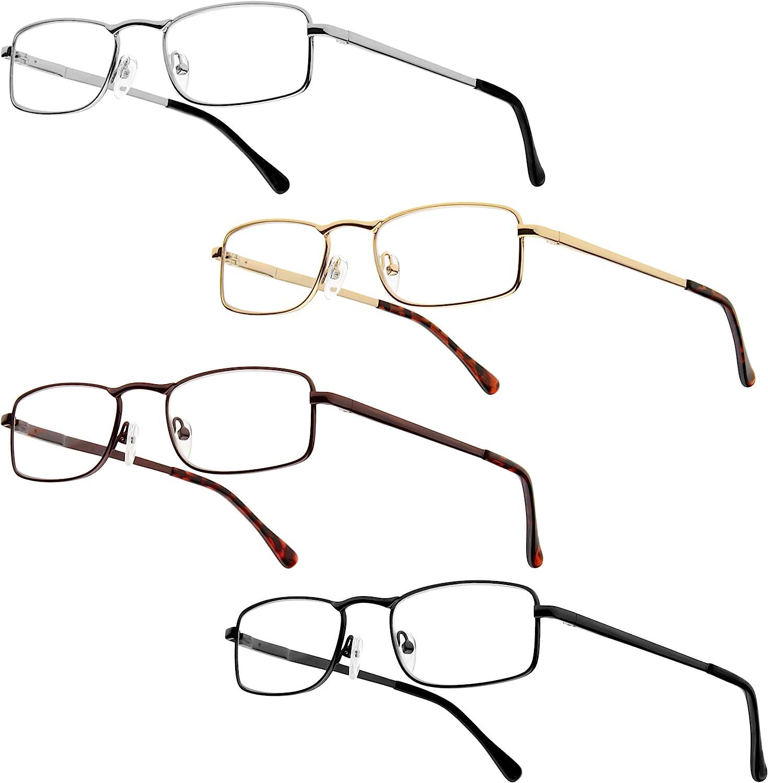 Paquete de 4 Gafas de Lectura Semi con Montura de Metal con bisagras de Resorte Gafas de Lectura Warrick de Urban Sky