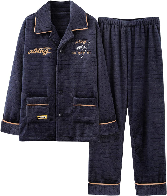 Men's Flannel Pyjamas, Autumn Winter Thick Warm Mens Pajama Set Long Sleeve Casual Soft Plus Size 4XL Male Sleepwear Suit M HDE610