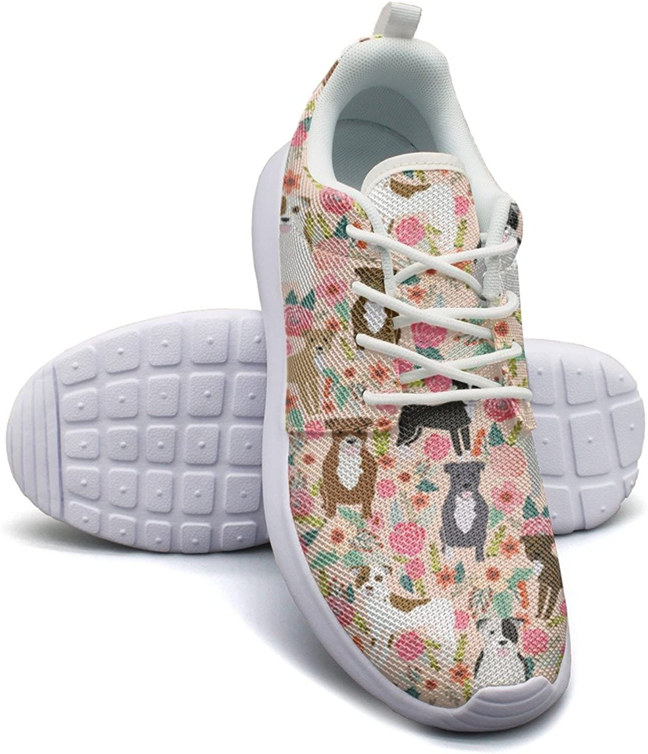 ERSER Vintage Pitbull Terriers Dog Florals Safety Running shoes Women