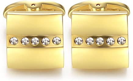 Honey Bear Cufflinks For Mens - Shirt Stainless Steel Gold Square Business Wedding Gift with Crystal