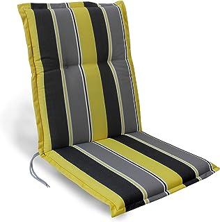Herlag Florence-Cojín Acolchado con Respaldo bajo para Silla de jardín (100% Espuma de Poliuretano), diseño, Color, Rayas Grises y Amarillas