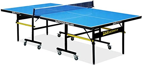 Foldable Outdoor Table Tennis Table Ping Pong Table Aluminum Composite Top Tournament Quality Full Size Quick Assembly Playback Mode All Weather Resistant Professional Accessory Paddles Net Set Balls