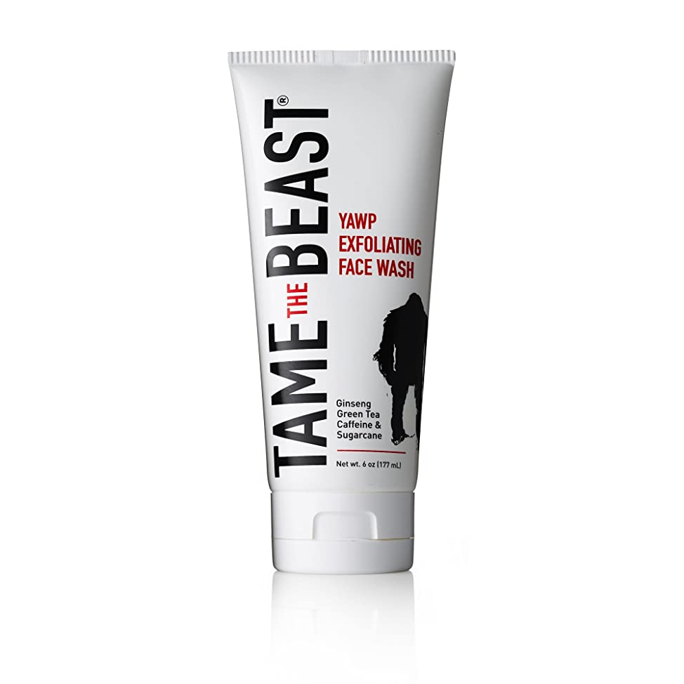 Men's Exfoliating Face Wash Tingle Facial Scrub with Peppermint, Ginseng, Green Tea, Caffeine, Pomegranate, Apple, Sugarcane, & Vitamin E - YAWP by TAME the BEAST