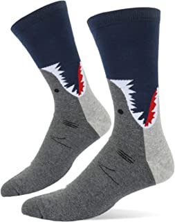 Men's Novelty Funny Shark Whale Crew Socks, Cool Crazy Narwhal Llama Pattern