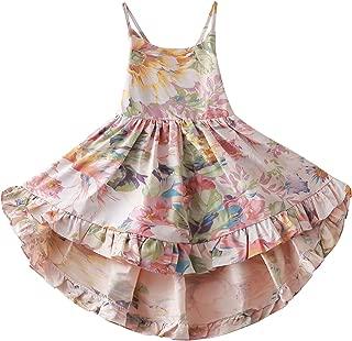 Toddler Vintage Floral Girls Dress Baby Backless Sundress,Blue 2T