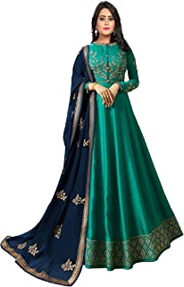 Fashion Basket Turquoise Women's Embroidered Joya Silk Semi-Stitched Anarkali Salwar Suit With Dupatta(SSFB-F1273)