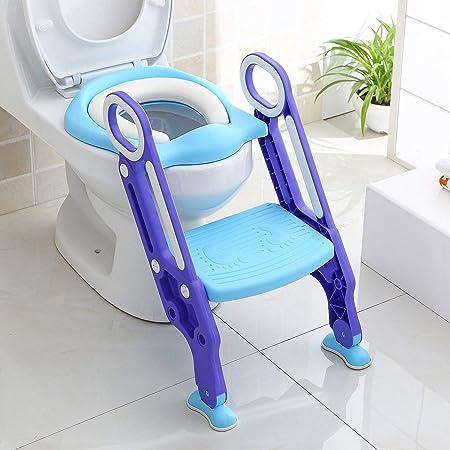 KEPLIN Asiento de inodoro ajustable para bebés y niños pequeños con escalones y escalera, color morado
