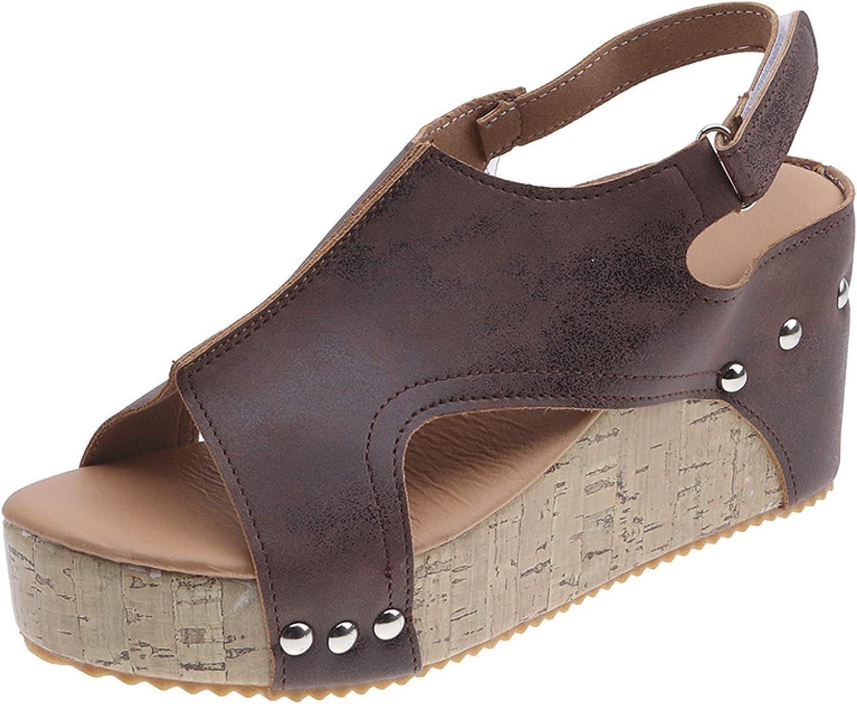 Women Fashion Outdoor Denver Mall Peep Toe Wedges Casual Heel Shoe High Max 60% OFF Hook