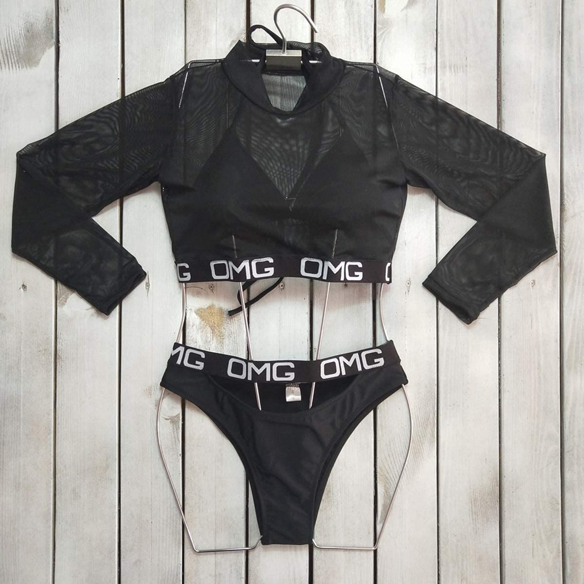 Women 3 Piece Swimsuit Bathing Suit High Waist Thong Bikini Sets with Mesh Cover Up