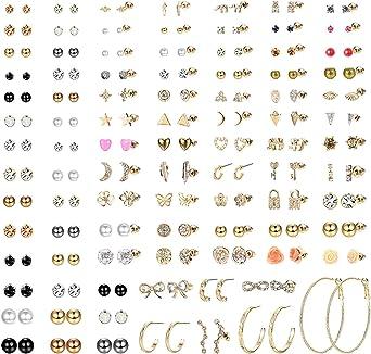 Milacolato 93 par blandade flera örhängen örhängen set för kvinnor tonårsflickor söta enkla falska pärlor kreoler bar måne stjärna cz örhängen smycken