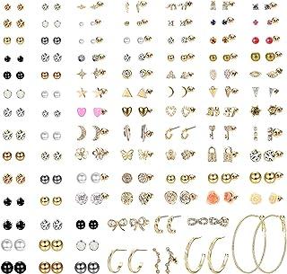 Milacolato 93 par blandade flera örhängen set för kvinnor tonåringar flickor söta enkla falska pärlor ring örhängen bar må...
