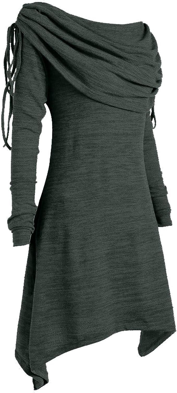 Womens Sweaters Pullover,Wamajoly Turtleneck Tartan Asymmetric Hem Tops Long Sleeve Button Patchwork Sweatshirt