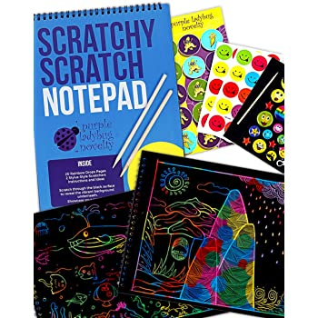 Purple Ladybug Rainbow Scratch Paper Art Kit for Kids: 20 BIG Sheets of Rainbow Scratch Off Paper in a Notepad +2 Wooden Stylus! Great Gift for Girls, Boys and Teens, Fun Arts and Crafts Activity Set!