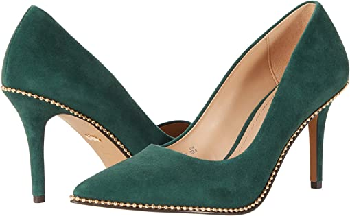 COACH 85 mm Waverly Pump with Beadchain,Dark Jade
