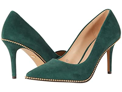COACH 85 mm Waverly Pump with Beadchain (Dark Jade) Women