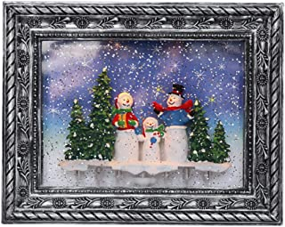Wondise Musical Photo Frame Snow Globe Lighted with 6 Hour Timer, Battery Operated and USB Powered Glitter Swirling Picture Frame Snow Globe for Christmas Decoration, Snowman Family