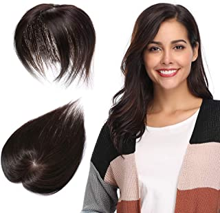 100% Remy Human Hair Silk Base Top Hairpieces Replacement Clip in Topper For Women Crown Top Piece Long 16''/16inch #2 Dark Brown 30g