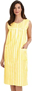 Carol Wright Gifts Shift Dress for Women - Sleeveless Zipper Gingham House Dress/Duster Available in Medium to 4XL