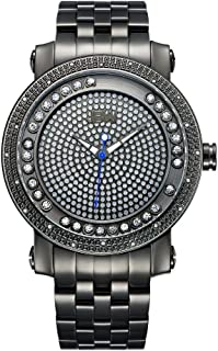 JBW Hendrix Men's Gunmetal Pave Dial Stainless Steel Band Watch - J6338C