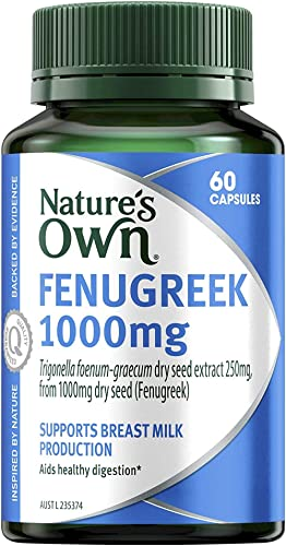 Nature's Own Fenugreek 1000mg - Aids Digestion and Appetite - Soothes Irritated Tissues - Relieves Abdominal Pain, 60...
