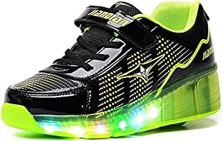 BY0NE LED Light up Sneakers Single Wheel Roller Skate Shoes Kids Boys Girls Shoes
