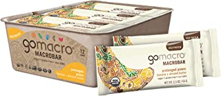 GoMacro MacroBar Organic Vegan Protein Bars Banana + Almond Butter 2.3 Ounce Bars (Pack of 12)
