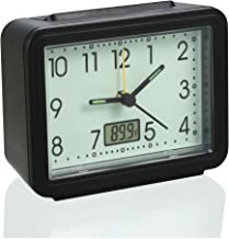 Battery Operated Alarm Clock;Silent Non Ticking,Glow in The Dark,Beep Alarm Sound Awake Analog Clock with Fahrenheit Thermometer Portable Travel Clock for Heavy Sleepers Kids Bedrooms Bedside Desk
