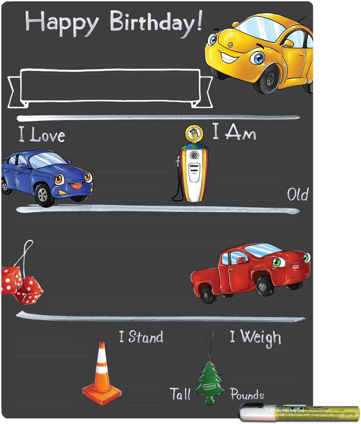 Cohas Low price Birthday Milestone Board Minneapolis Mall with Re Theme and Trucks Cars