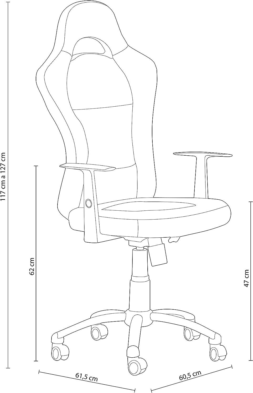Fondo Ancho Silla de Oficina o Escritorio Modelo Formula Medidas: 60,5 cm x 61,5 cm duehome Silla de Oficina Estilo Deportivo x 115-125 cm Color Naranja Silla Gaming Alto