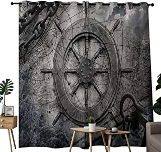 "NUOMANAN Customized Curtains Ships Wheel,Retro Navigation Equipment Illustration with Steering Wheel Charts Anchor Chains,Charcoal,Blackout Thermal Insulated,Grommet Curtain Panel Set of 2 84""x84"""