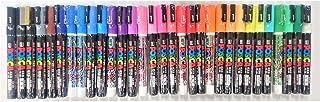 Uni Posca Paint Marker Pen, Fine Point(PC-3M), 31 Colors(24 Colors & 7 Glitter Colors) Set with Original Vinyl Pen Case