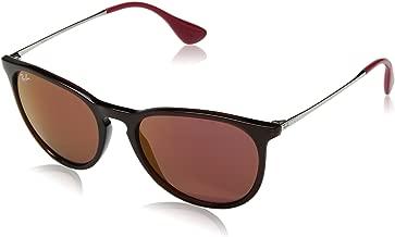 RAY-BAN RB4171 Erika Round Sunglasses, Brown/Dark Red Mirror, Dark Red Mirror