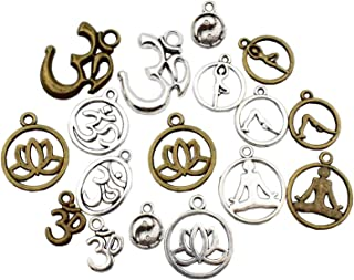100g (about 75pcs ) Craft Supplies Mixed Yoga OM OHM charms Pendants Beads Charms Pendants for Crafting, Jewelry Findings Making Accessory For DIY Necklace Bracelet M22 (Yoga OM charms)