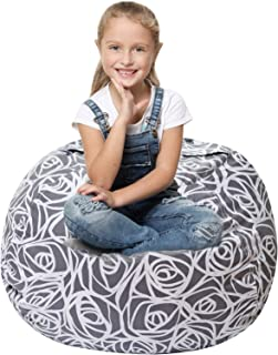 5 STARS UNITED Stuffed Animal Storage Bean Bag - Cover Only - Large Beanbag Chairs for Kids - 90+ Plush Toys Holder and Organizer for Girls - 100% Cotton Canvas Cover - Gray Roses